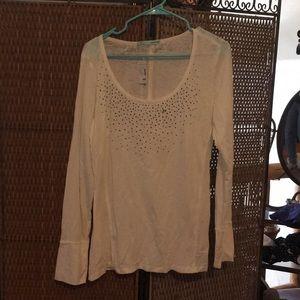 Maurice's long sleeve cream embellished blouse NWT